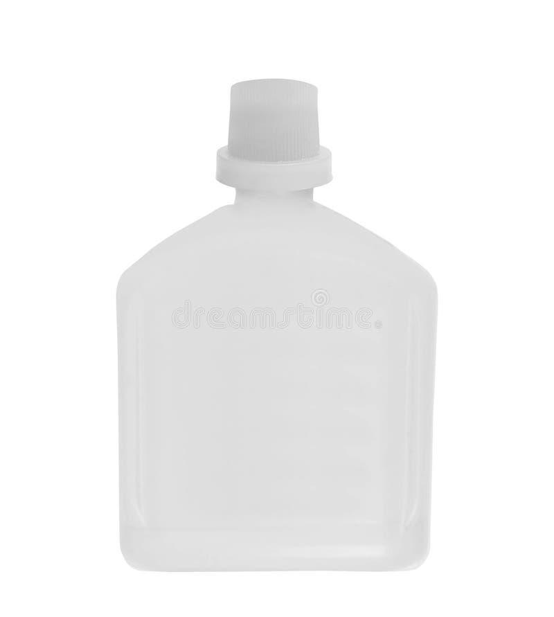 胶浆 在白色隔绝的塑料白色瓶 库存图片