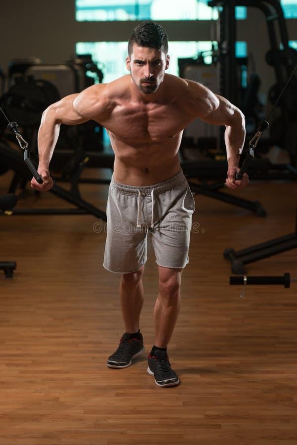胸口锻炼在健身房的缆绳天桥 免版税图库摄影