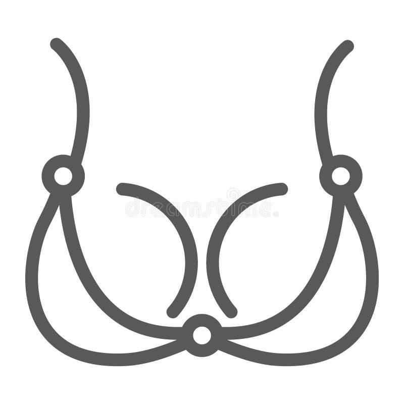 胸罩线象,内衣和妇女,女用贴身内衣裤标志,向量图形,在白色背景的一个线性样式 库存例证