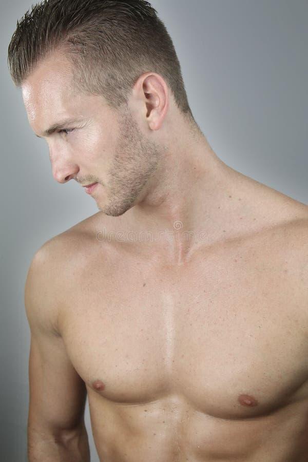 胸部赤裸的英俊的人 库存照片