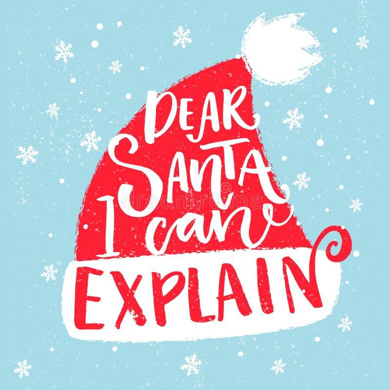 能亲爱解释i圣诞老人 圣诞节T恤杉、贺卡和墙壁艺术的滑稽的说法 在红色圣诞老人的刷子印刷术 向量例证