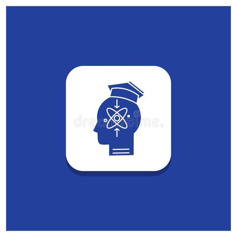 能力的,头,人,知识,技巧纵的沟纹象蓝色圆的按钮 皇族释放例证