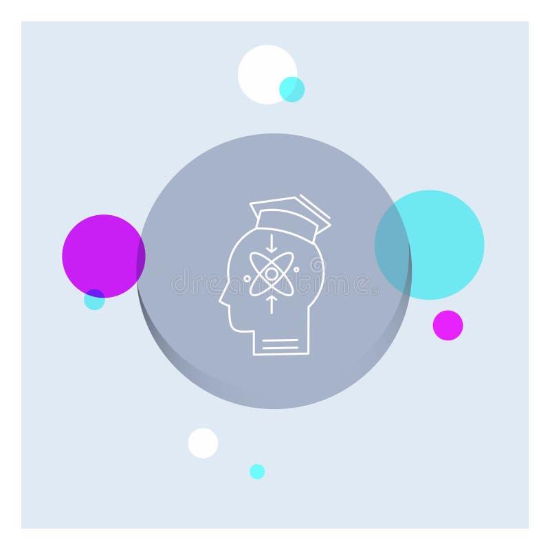 能力,头,人,知识,技巧空白线路象五颜六色的圈子背景 库存例证