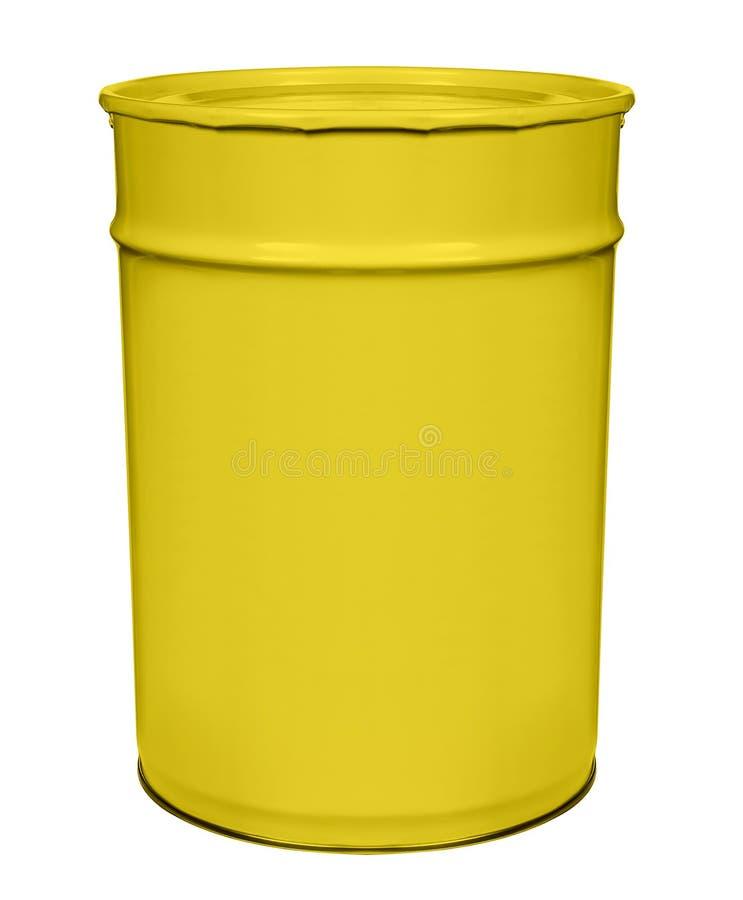 能在白色的黄色油漆 免版税库存图片