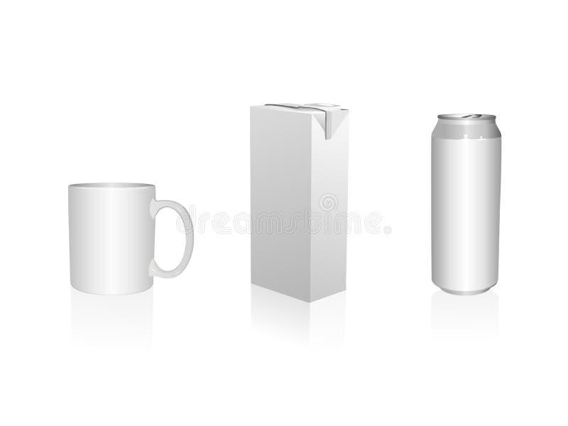 能汁液杯子装箱 皇族释放例证