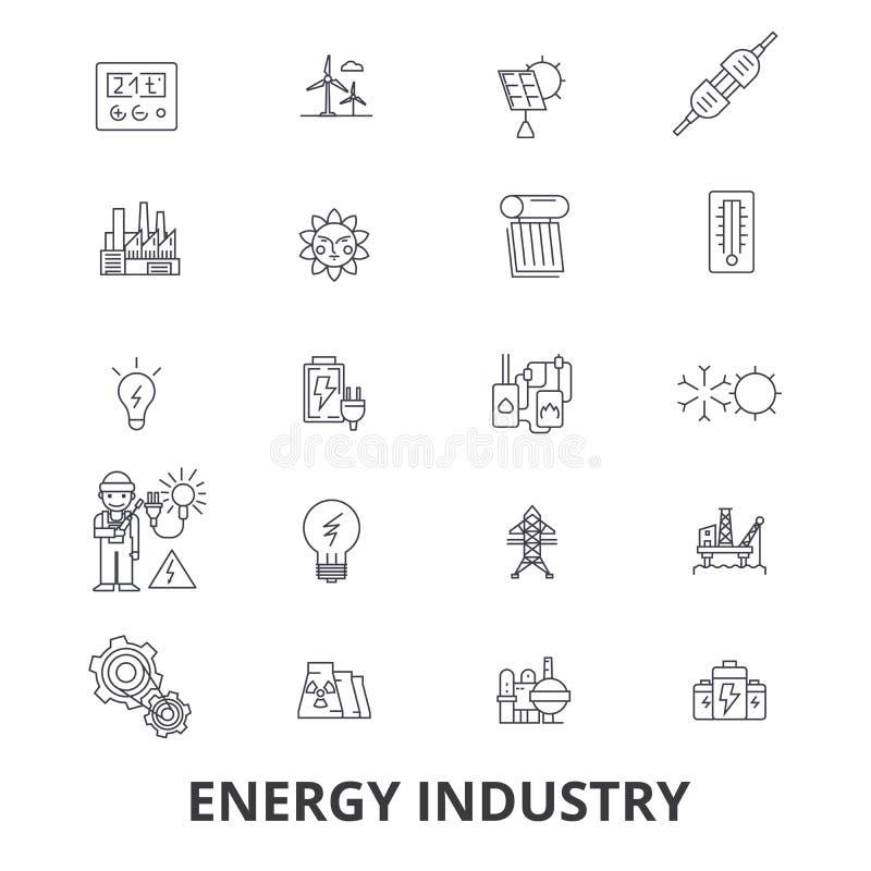 能源业、油和煤气,效率,挽救,绿色能量,水力发电的线象 编辑可能的冲程 平的设计 向量例证