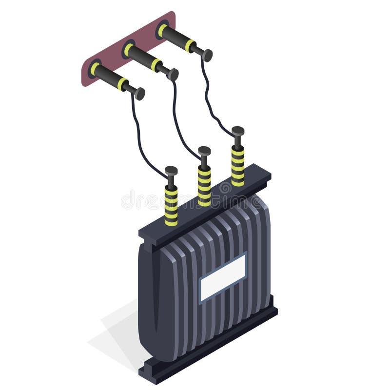 能源厂细节 发电站元素 电变压器等量大厦 皇族释放例证