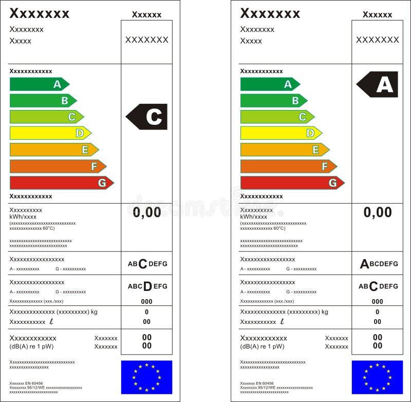 能源图形标签评级 皇族释放例证