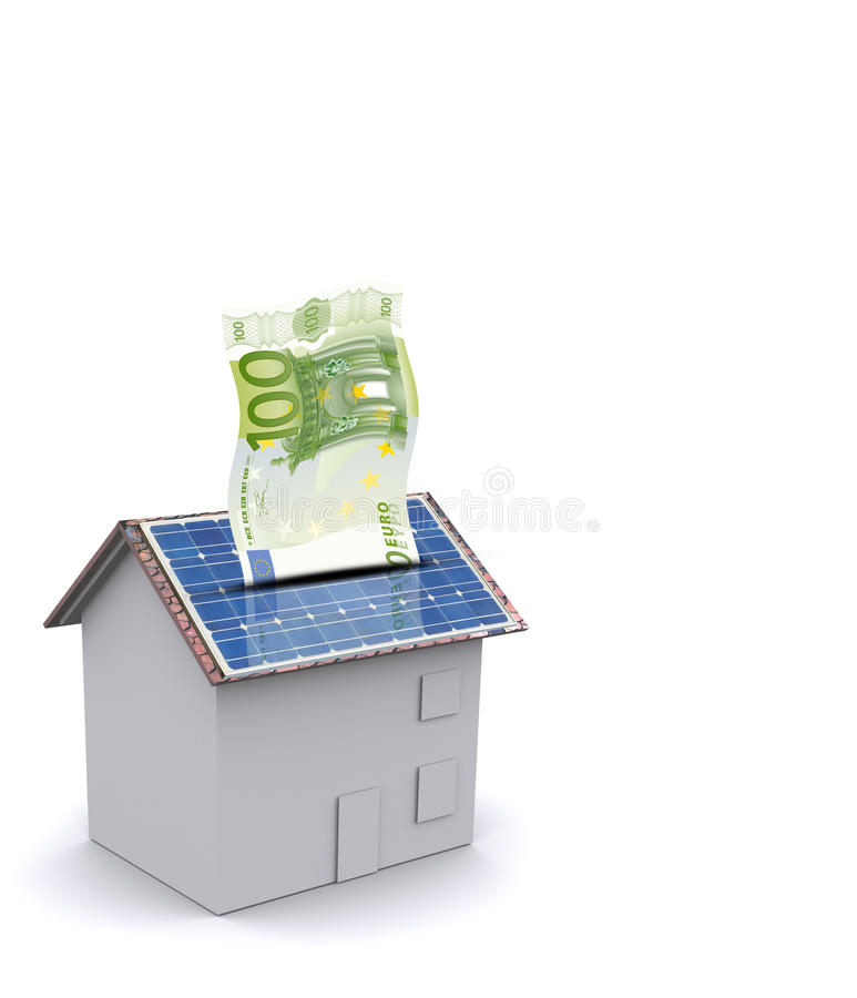 能源房子挣货币太阳 皇族释放例证