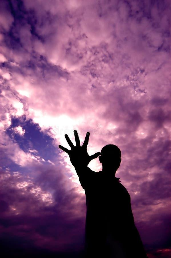 能源紫色天空 库存图片