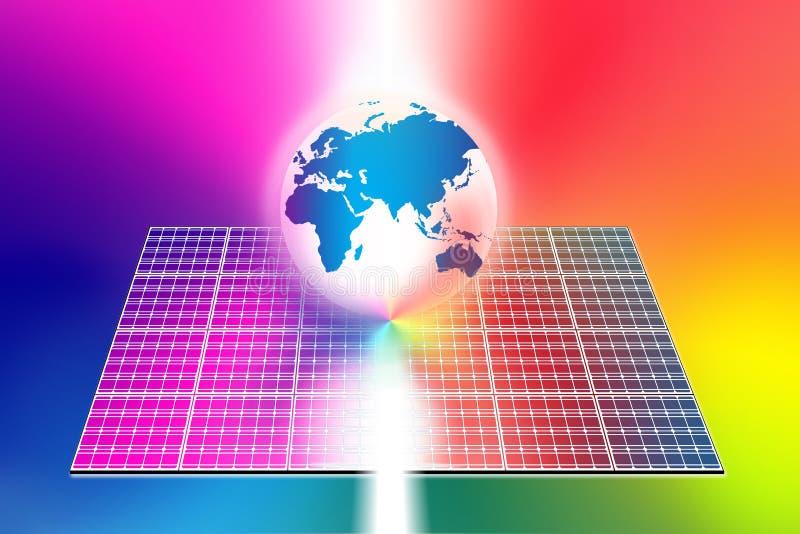 能源镶板太阳世界 向量例证