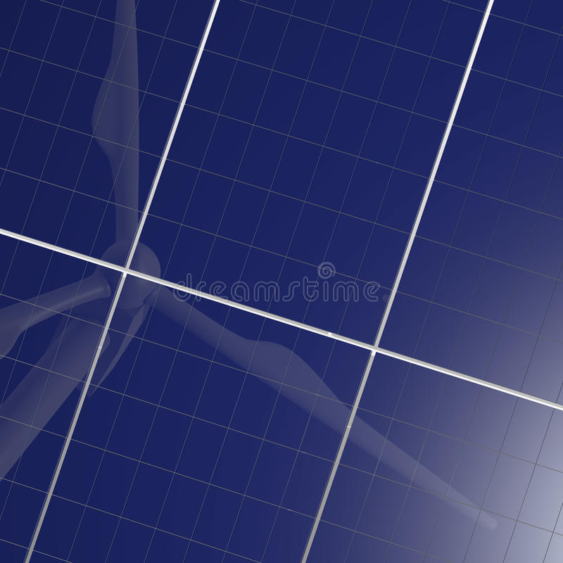 能源面板可延续的太阳涡轮风 向量例证