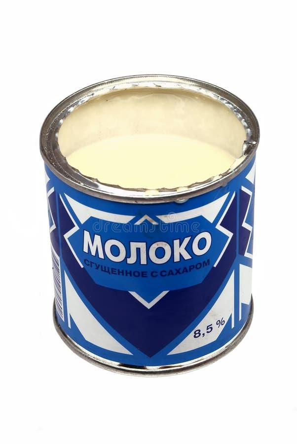 能被开张的浓缩牛奶 免版税库存照片