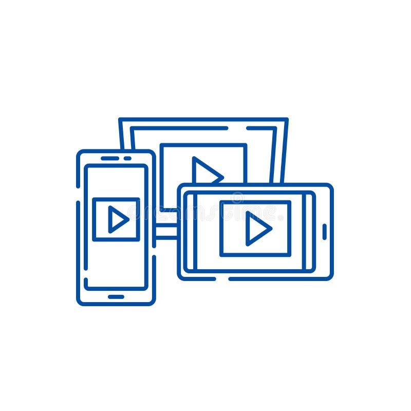 能适应的录影设计线象概念 能适应的录影设计平的传染媒介标志,标志,概述例证 库存例证