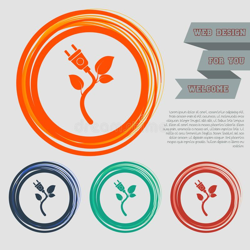 能量力量在红色,蓝色,绿色,橙色按钮您的网站的和设计的eco象与空间发短信 库存例证