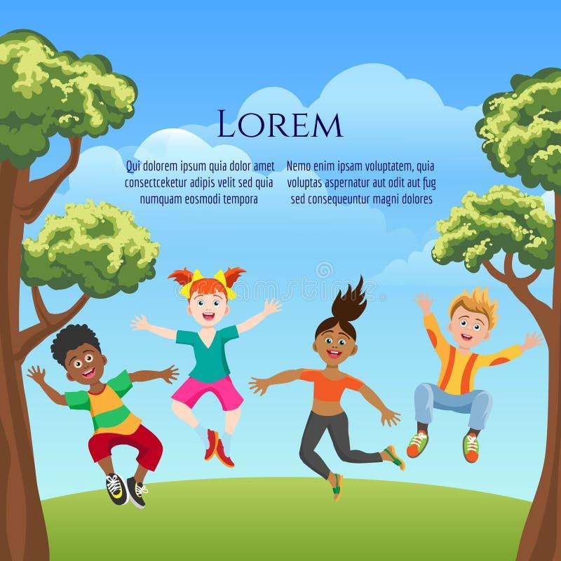 能量和愉快的孩子海报设计 向量例证