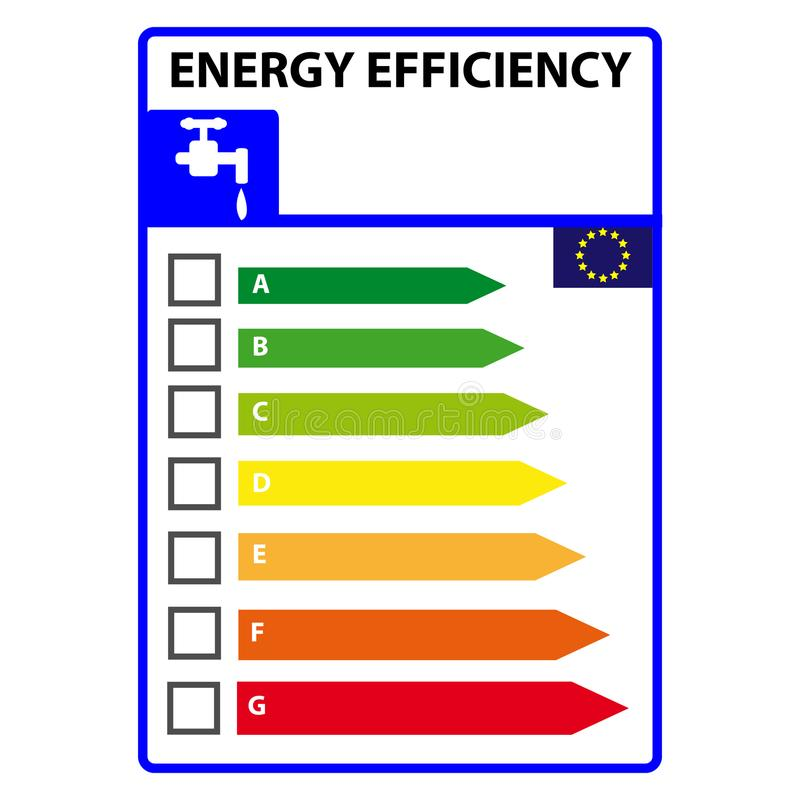 能量在白色背景隔绝的efficience标签 向量例证