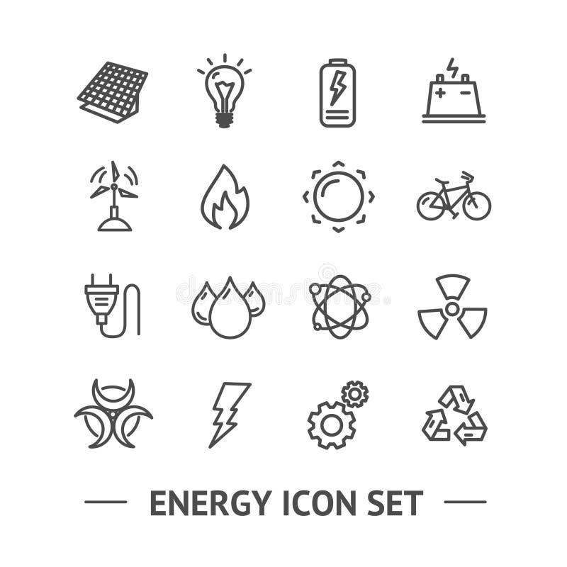 能量标志黑色稀薄的线象集合 向量 库存例证