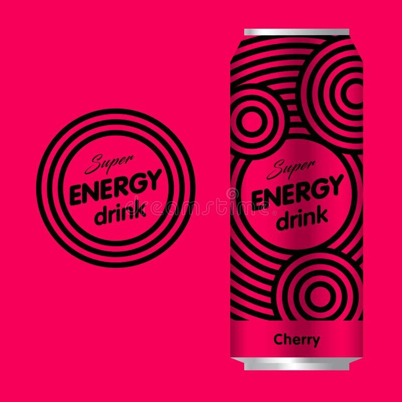能量饮料商标 力量饮料商标 商标和包装有红色背景 向量例证