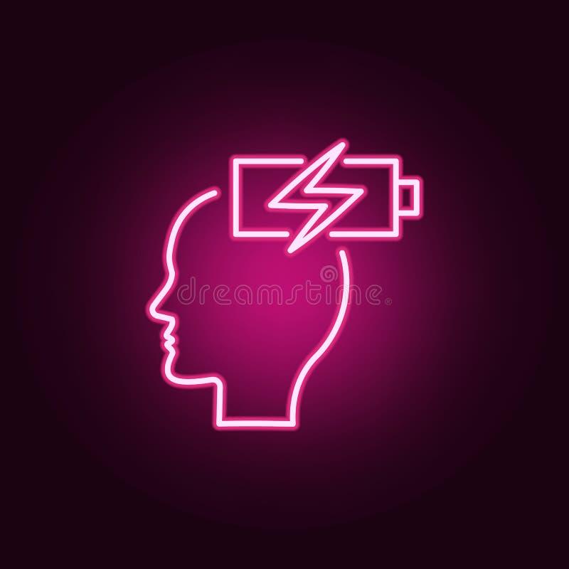 能量,脑子,再充电霓虹象 创造性思为集合的元素 网站的简单的象,网络设计,流动应用程序,信息 库存例证
