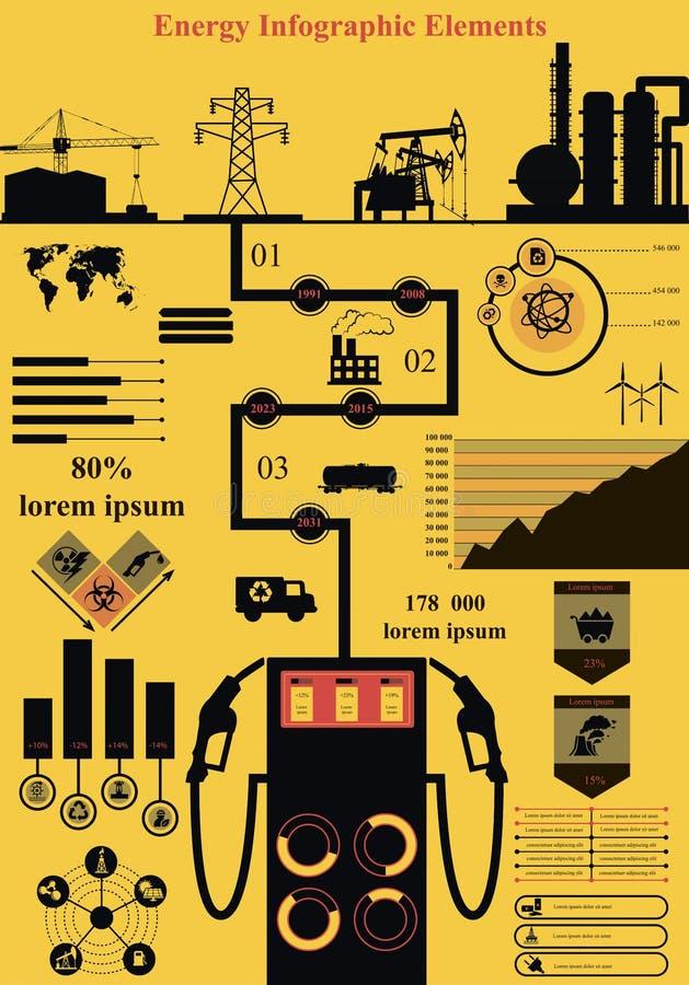 能量infographics 皇族释放例证
