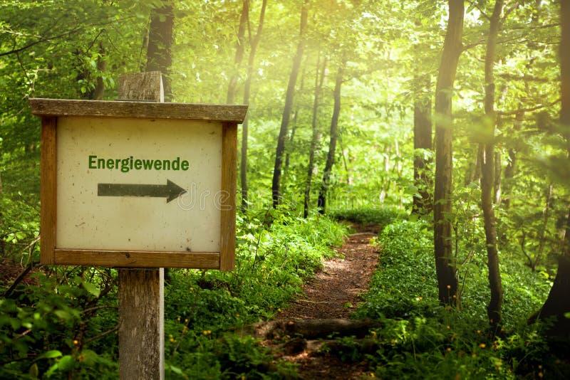 能量U字型转向-与德国词Energiewende的概念 库存照片