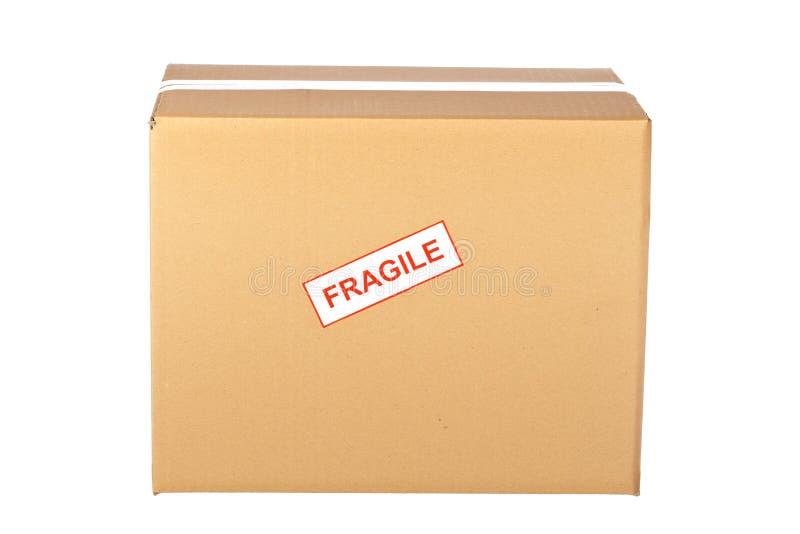 脆弱配件箱的纸板 库存照片