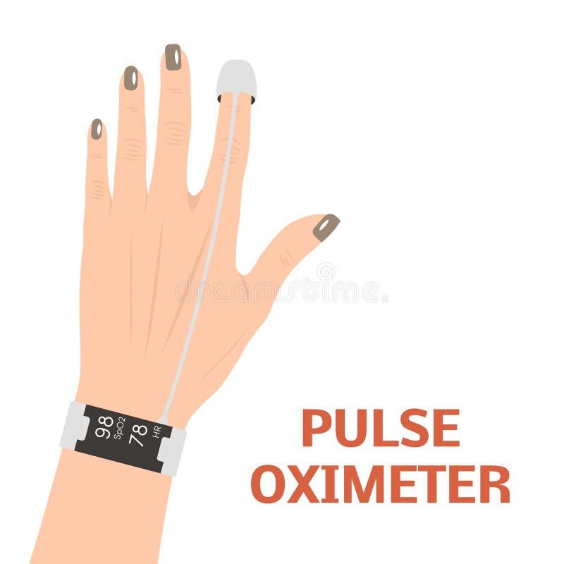 脉冲血氧定量计传染媒介 库存例证