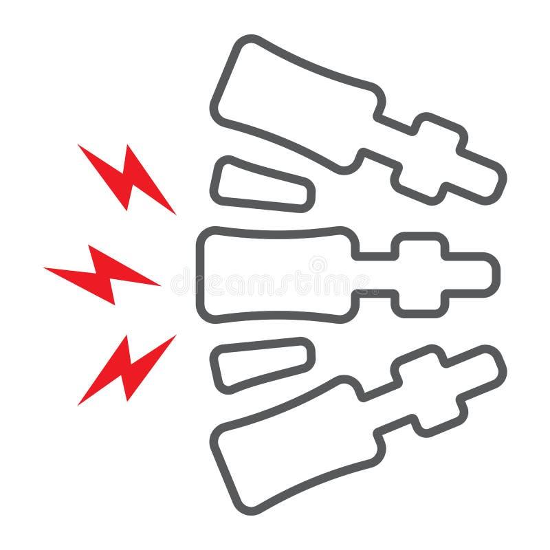 脊椎痛苦线象,身体和痛苦,后背疼痛标志,向量图形,在白色背景的一个线性样式 向量例证