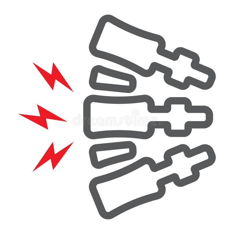 脊椎痛苦线象,身体和痛苦,后背疼痛标志,向量图形,在白色背景的一个线性样式 库存例证