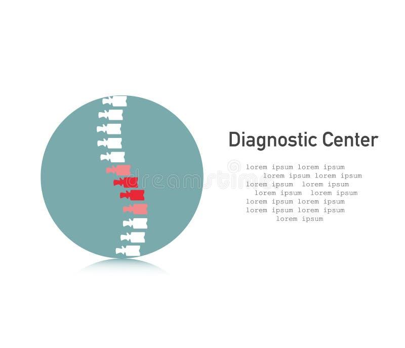 脊椎象 诊断中心 与痛苦标志的脊椎在一个平的样式 ?? 库存例证