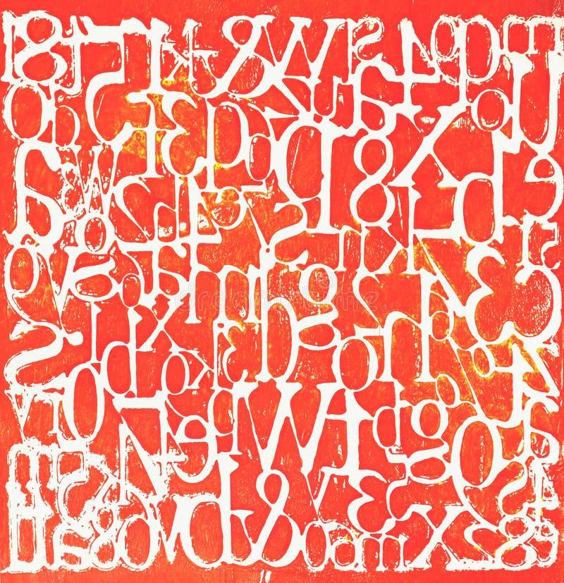 脏的信件和数字红色被绘的背景 库存例证