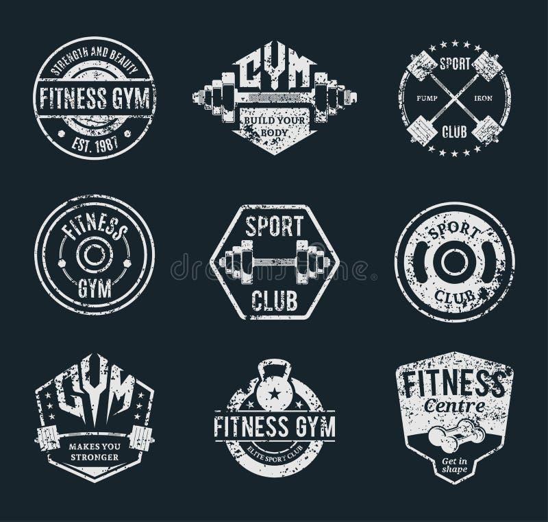 脏的健身房和健身标签模板和运动徽章 库存例证
