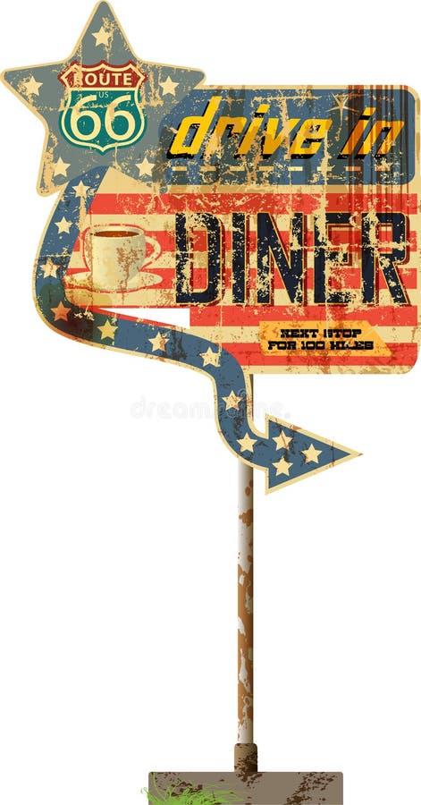 脏的减速火箭的路线66吃饭的客人标志 皇族释放例证