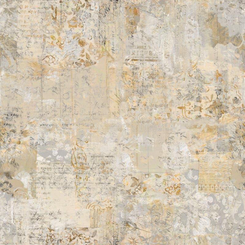 脏的古色古香的葡萄酒花卉墙纸拼贴画背景 库存图片