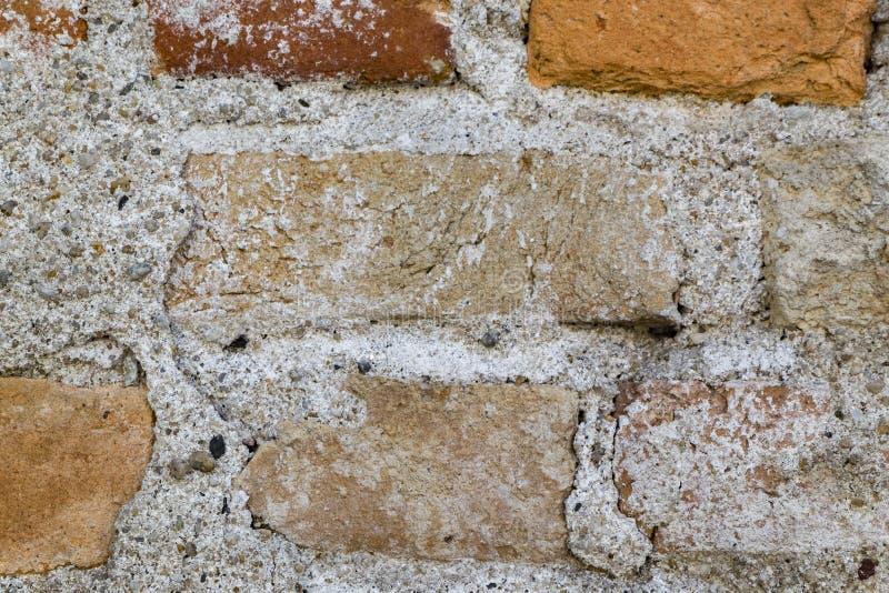 脏的摒弃砖墙背景和纹理 库存图片