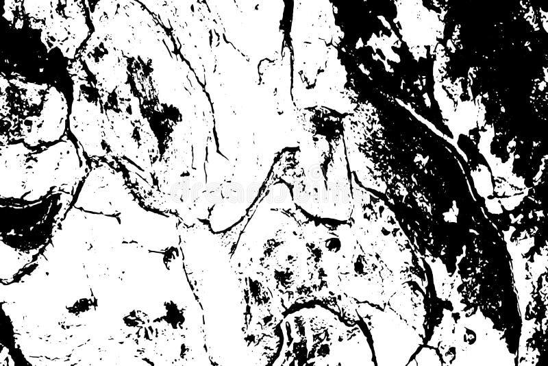 脏的树皮纹理 黑白吠声装饰品 向量例证