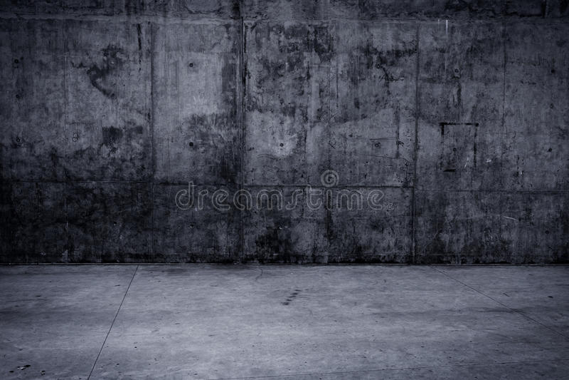 脏的混凝土墙和地板作为背景 库存照片