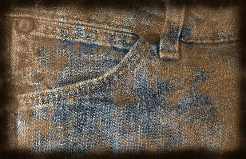 脏的牛仔裤背景 库存例证