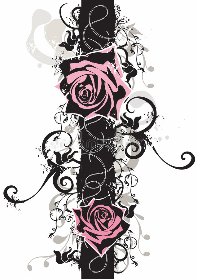 脏的玫瑰 向量例证