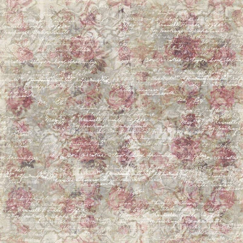 脏的葡萄酒玫瑰色花植物的墙纸背景重复 皇族释放例证