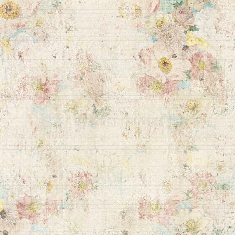 脏的葡萄酒花卉背景 免版税库存照片