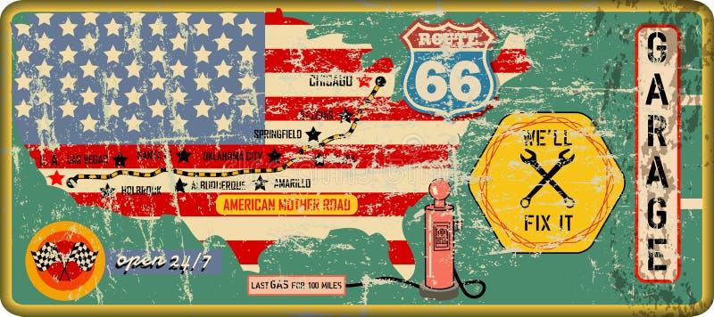 脏的葡萄酒路线66车库标志和路线图,减速火箭的脏的vec 皇族释放例证