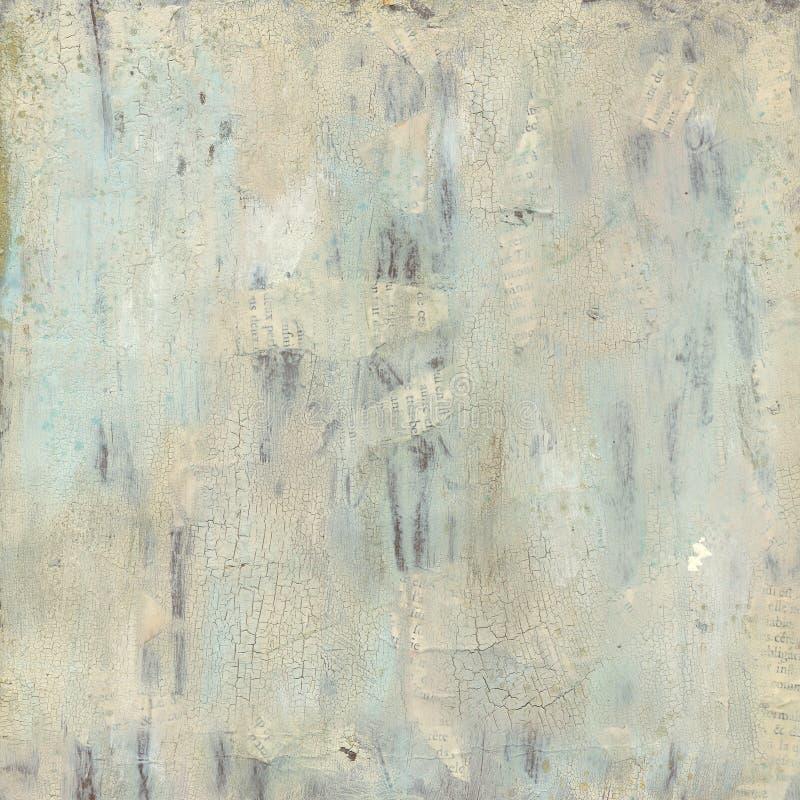 脏的蓝色和灰色被绘的抽象背景 免版税图库摄影