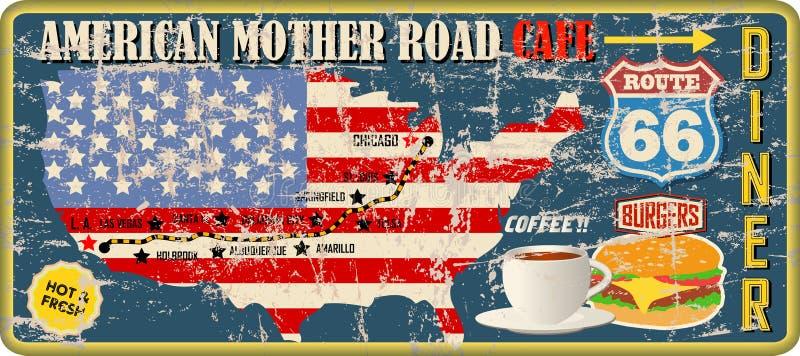 脏的路线66吃饭的客人和咖啡馆标志和路线图,减速火箭的脏的传染媒介 皇族释放例证