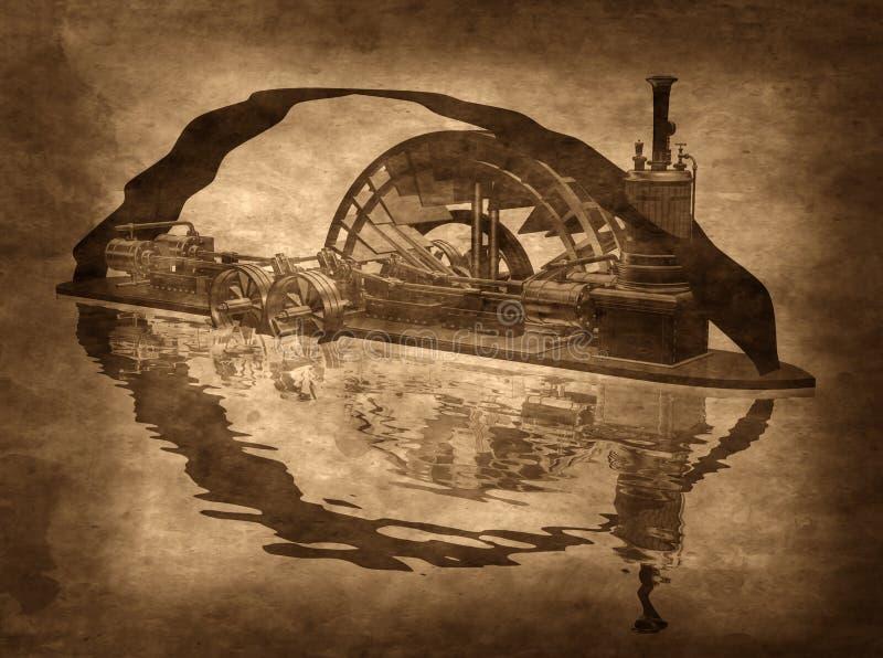 脏的Steampunk小船 库存例证