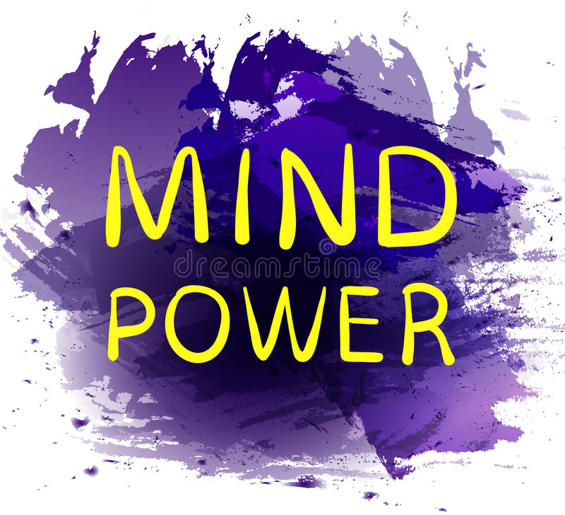`头脑力量在紫色油漆飞溅背景的`文本 传染媒介手拉的信件 黄色词 皇族释放例证