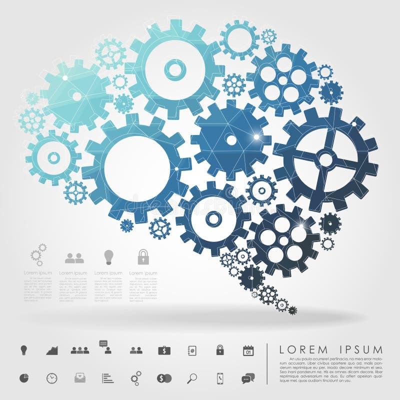 脑子与企业象的齿轮多角形 皇族释放例证