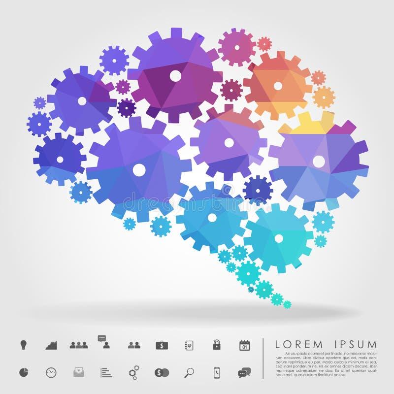 脑子与企业象的齿轮多角形 库存例证