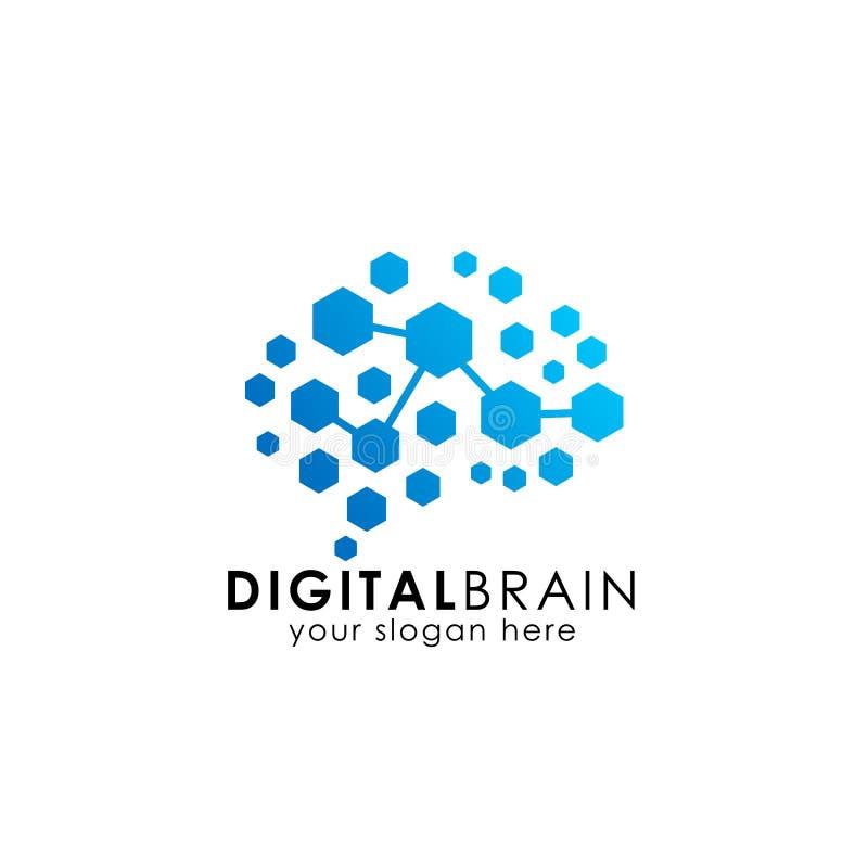 脑子与六角形的连接商标 数字式脑子 脑子插孔商标设计 皇族释放例证
